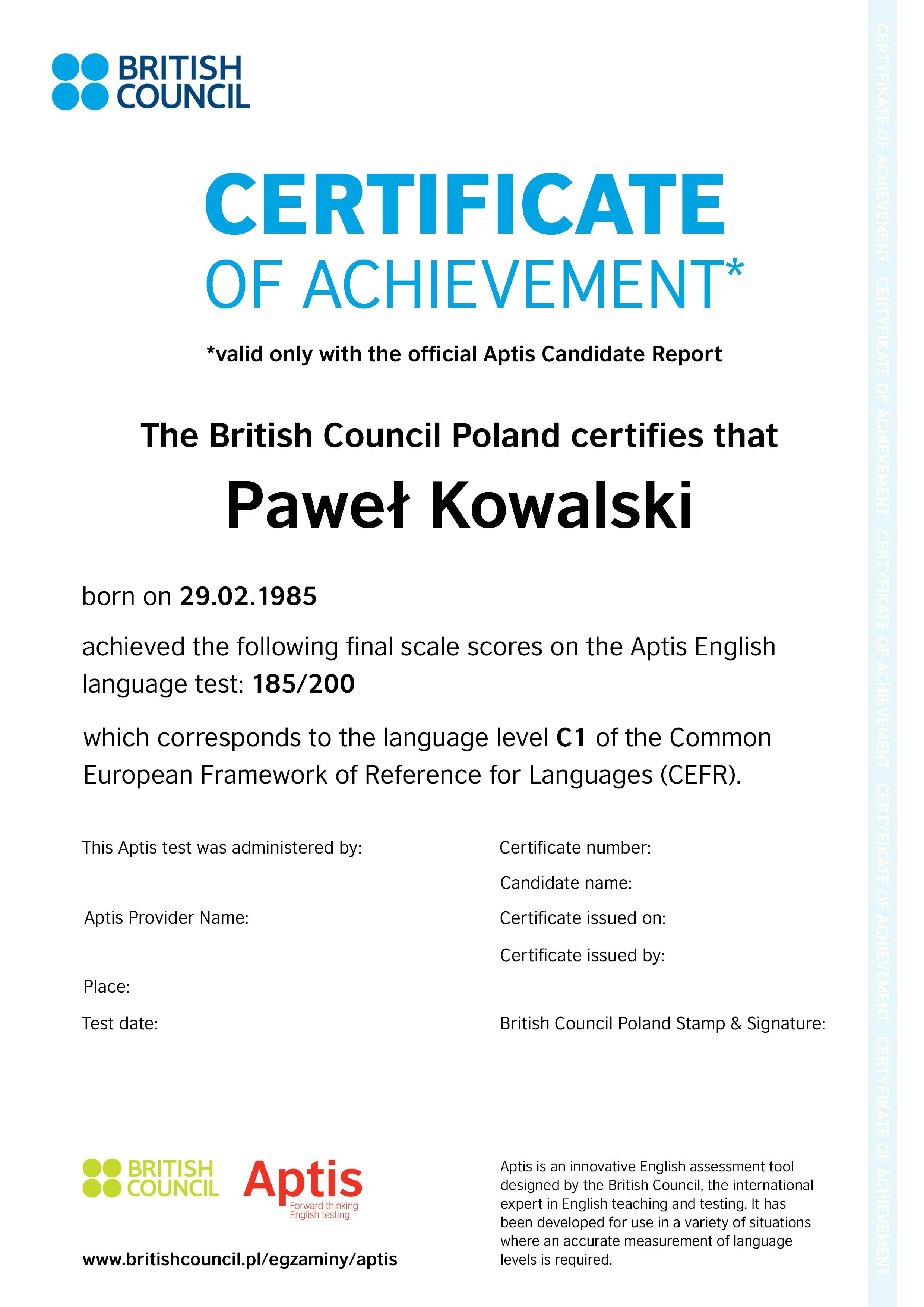 certyfikat aptis dla projekt u00f3w unijnych